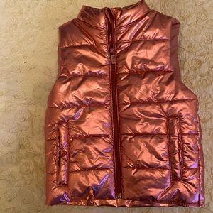 DNY girls vest puffer  in hot metallic pink size 6
